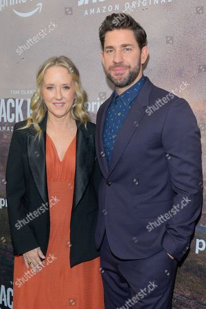 Jennifer Salke (Head of Amazon Studios) and John Krasinski attend the Season Two Premiere of Tom Clancy's Jack Ryan at Metrograph in New York City.