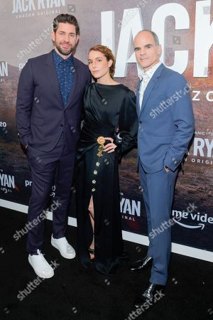 John Krasinski, Noomi Rapace and Michael Kelly attend the Season Two Premiere of Tom Clancy's Jack Ryan at Metrograph in New York City.