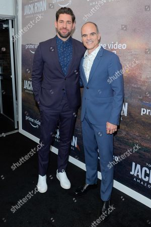 Stock Photo of John Krasinski and Michael Kelly attend the Season Two Premiere of Tom Clancy's Jack Ryan at Metrograph in New York City.