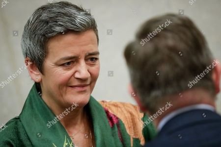 European Commissioner for Competition Margrethe Vestager (L) and European Commissioner for the Security Union Julian King (R) attend the the weekly college meeting of the European Commission in Brussels, Belgium, 30 October 2019.