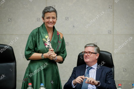 European Commissioner for Competition Margrethe Vestager (L) and European Commissioner for the Security Union Julian King (R) attend the weekly college meeting of the European Commission in Brussels, Belgium, 30 October 2019.