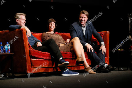 """Cary Elwes, Pollyanna McIntosh, Jake Busey. From left, Cary Elwes from """"Stranger Things"""", Pollyanna McIntosh from """"The Walking Dead"""" and Jake Busey from """"Stranger Things"""" participate in the membership event, """"Hollywood Horror: Scaring Up an Audience for Television,"""" at the Wolf Theatre at the Saban Media Center at the Television Academy, in Los Angeles"""
