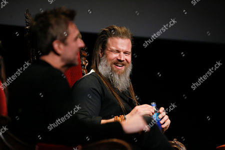 "Stock Photo of Chris Hardwick, Ryan Hurst. Chris Hardwick hosts and moderates a special panel of actors, producers, visual effects professionals, editors and composers including Ryan Hurst, right, from ""The Walking Dead"" in the membership event, ""Hollywood Horror: Scaring Up an Audience for Television,"" at the Wolf Theatre at the Saban Media Center at the Television Academy, in Los Angeles"