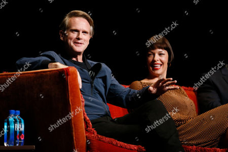 """Cary Elwes, Pollyanna McIntosh. Cary Elwes from """"Stranger Things"""" and Pollyanna McIntosh from """"The Walking Dead"""" participate in the membership event, """"Hollywood Horror: Scaring Up an Audience for Television,"""" at the Wolf Theatre at the Saban Media Center at the Television Academy, in Los Angeles"""