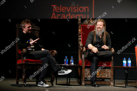 """Stock Picture of Chris Hardwick, Ryan Hurst. Chris Hardwick, left, hosts and moderates a special panel of actors, producers, visual effects professionals, editors and composers including Ryan Hurst, right, from """"The Walking Dead"""" in the membership event, """"Hollywood Horror: Scaring Up an Audience for Television,"""" at the Wolf Theatre at the Saban Media Center at the Television Academy, in Los Angeles"""