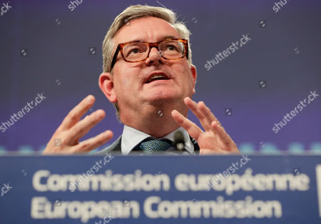 European Commissioner for Security Union, British Julian King speaks during a joint press conference together with European Comissioner of Migration Dimitris Avramopoulos, on progress made towards an effective and genuine Security Union at the European Commission in Brussels, Belgium, 30 October 2019.