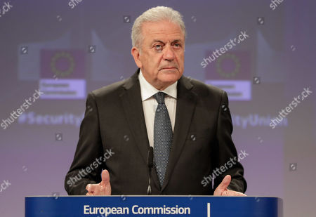 European Comissioner of Migration Dimitris Avramopoulo and European Commissioner for Security Union, British Julian King (not seen) give a press conference on progress made towards an effective and genuine Security Union at the European Commission in Brussels, Belgium, 30 October 2019.