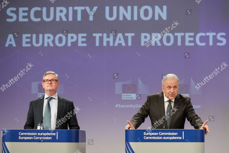 European Comissioner of Migration Dimitris Avramopoulos (R) and European Commissioner for Security Union, British Julian King (L) give a press conference on progress made towards an effective and genuine Security Union at the European Commission in Brussels, Belgium, 30 October 2019.