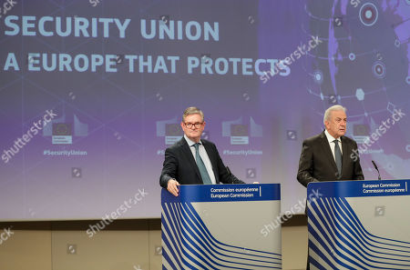 Stock Picture of European Comissioner of Migration Dimitris Avramopoulos (R) and European Commissioner for Security Union, British Julian King (L) give a press conference on progress made towards an effective and genuine Security Union at the European Commission in Brussels, Belgium, 30 October 2019.