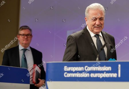 Stock Image of European Comissioner of Migration Dimitris Avramopoulos (R) and European Commissioner for Security Union, British Julian King (L) arrive to give a press conference on progress made towards an effective and genuine Security Union at the European Commission in Brussels, Belgium, 30 October 2019.
