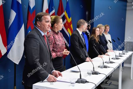 From L-R Sweden's Prime Minister Stefan Lofven, Denmark's Prime Minister Mette Fredriksen, Faroe Islands' Prime Minister Bárður á Steig Nielsen, Greenland's Prime Minister Kim Kielsen, Iceland's Prime Minister Katrin Jakobsdottir, Norway's Prime Minister Erna Solberg and Aland Islands' deputy Prime Minister Camilla Gunell attend a press conference after the Nordic Council's Session held at the Government headquarters Rosenbad in Stockholm, Sweden October 30, 2019. Swedish enviromental activist Greta Thunberg was honoured with the environmental award of the the Nordic Council, but she turned it down 30 October. Nordic Council is the official, formal inter-parliamentary co-operation body between the Nordic countries.