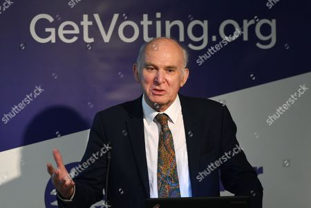 Stock Photo of Former Liberal Democratic Leader Vince Cable speaks during a Best for Britain event in London, Britain, 30 October 2019. Best for Britain is to target marginal seats with tactical voting during the up-coming general election.