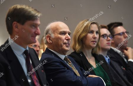 Former Liberal Democratic Party Leader Vince Cable (2-L) with Conservative Party MP (Member of Parliament) Dominic Grieve (L), during a Best for Britain event in London, Britain, 30 October 2019. Best for Britain is to target marginal seats with tactical voting during the up-coming general election.