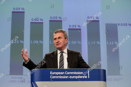 German EU Commissioner for budget and human resources Guenther Oettinger gives a press conference on EU long-term budget  at the European Commission in Brussels, Belgium, 30 October 2019.