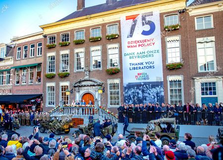 King Willem-Alexander and President Andrzej Duda and his wife, Agata Kornhauser-Duda, of Poland attend the celebration of the 75th anniversary of the liberation of Breda.