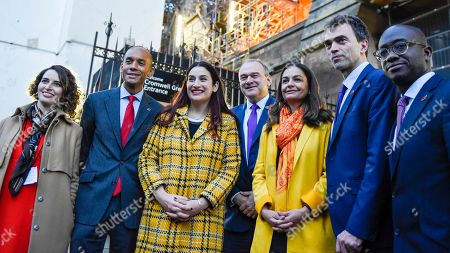 Lib Dem members Luisa Porritt, Chukka Umunna, Luciana Berger, Ed Davey, Siobhan Benita, Tom Brake and Sam Gyimah after the Liberal Democrats launched their election campaign ahead of the General Election on 12 December.