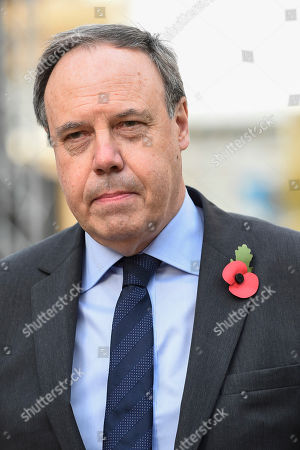 Nigel Dodds, deputy leader of the DUP, in College Green opposite the Houses of Parliament, during a media interview.