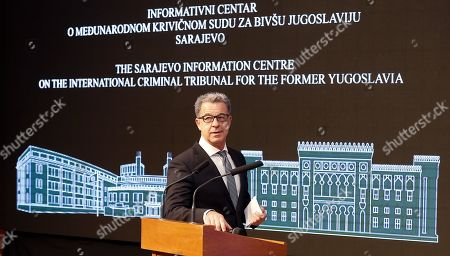 Serge Brammertz, chief prosecutor for the International Residual Mechanism for Criminal Tribunals, speaks during a lecture to high school students on the history of national justice in Sarajevo, Bosnia and Herzegovina, 30 October 2019.