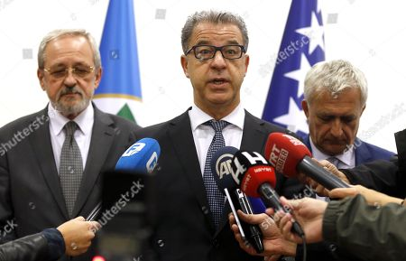 Stock Image of Serge Brammertz, chief prosecutor for the International Residual Mechanism for Criminal Tribunals, speaks to the press during a conference in Sarajevo, Bosnia and Herzegovina, 30 October 2019.