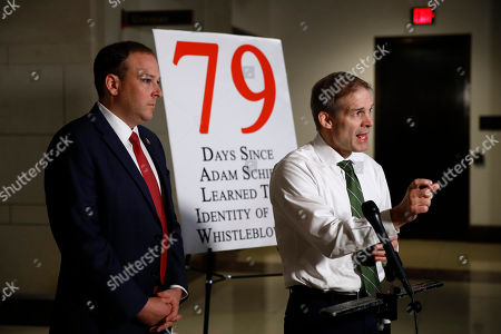 Jim Jordan, Lee Zeldin. Rep. Jim Jordan, R-Ohio, right, and Rep. Lee Zeldin, R-N.Y., speak with members of the media after Catherine Croft, a State Department adviser on Ukraine, arrived for a closed door meeting to testify as part of the House impeachment inquiry into President Donald Trump, on Capitol Hill in Washington