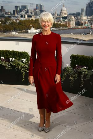 Dame Helen Mirren poses for photographers upon arrival at the photo call of 'The Good Liar' at a central London hotel