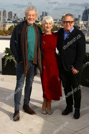 Ian McKellen, Helen Mirren, Bill Condon. Actors Sir Ian McKellen, Dame Helen Mirren and Director Bill Condon pose for photographers upon arrival at the premiere of 'The Good Liar' at a central London hotel
