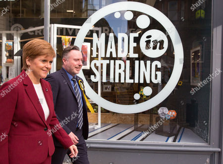 First Minister and SNP leader Nicola Sturgeon (L) joins Alyn Smith (R), the SNP?s candidate for Stirling, on the campaign trail, in Stirling, Britain, 30 October 2019.