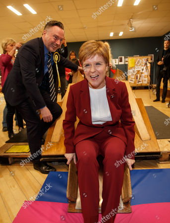 First Minister and SNP leader Nicola Sturgeon (R) joins Alyn Smith (L), the SNP?s candidate for Stirling, on the campaign trail, in Stirling, Britain, 30 October 2019.