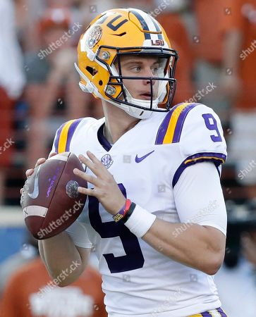 LSU quarterback Joe Burrow (9) looks for a receiver during the second half of an NCAA college football game against Texas, in Austin, Texas. The SEC hasn't had a quarterback picked in the first round of the NFL draft since Johnny Manziel in 2014, and the league has never had more than one quarterback taken in the first round. It appears that's about to change, as Tua Tagovailoa, Joe Burrow and possibly Jake Fromm could make the next draft the best ever for SEC quarterbacks