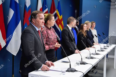 From L-R Sweden's Prime Minister Stefan Lofven, Denmark's Prime Minister Mette Frederiksen, Finland's Prime Minister Antti Rinne, Faroe Islands' Prime Minister Barour a Stieg Nielsen, Greenland's Prime Minister Kim Kielsen, Iceland's Prime Minister Katrin Jakobsdottir, Norway's Prime Minister Erna Solberg and Aland Islands' deputy Prime Minister Camilla Gunell attend a press conference after the Nordic Council's Session held at the Government headquarters in Rosenbad.