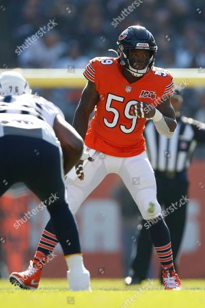 Chicago Bears inside linebacker Danny Trevathan (59) lines up against the Los Angeles Chargers during an NFL football game, in Chicago