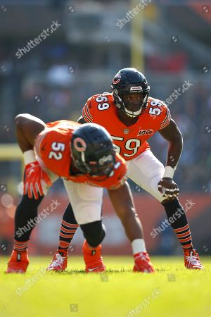 Chicago Bears inside linebacker Danny Trevathan (59) line up against the Los Angeles Chargers during an NFL football game, in Chicago