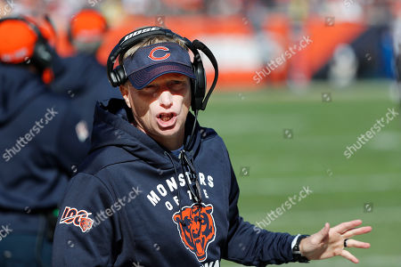 A.J. Klein. Chicago Bears special teams coach Chris Tabor talks to his players during the first half of an NFL football game Los Angeles Chargers, in Chicago