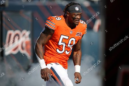 Chicago Bears inside linebacker Danny Trevathan (59) is introduced before an NFL football game against the Los Angeles Chargers, in Chicago