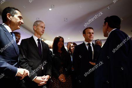Stock Image of Anne Hidalgo, Haim Korsia, Emmanuel Macron, Joel Mergui, Christophe Castaner, Franck Riester, Bernard Cazeneuve, Manuel Valls, Valerie Pecresse
