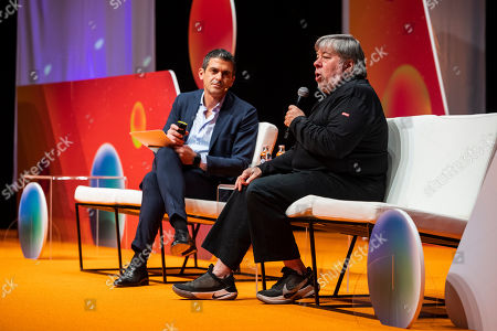 U.S. entrepreneur and co-founder of Apple Inc. Steve Wozniak (L) speaks in the company of Maurice Lisi, head of the Multichannel and CRM Division of the Italian banking group Intesa Sanpaolo at the Novathon Conference in Budapest Congress Centre in Budapest, Hungary, 30 October 2019. The conference organized by CIB Bank is an event on finance innovation and digital culture transformation bringing together acclaimed international financial influencers to showcase excellence in banking and financial services.