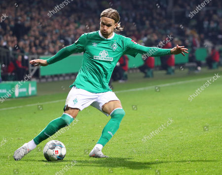 Bremen's Michael Lang in action during the German DFB Cup second round soccer match between SV Werder Bremen and FC Heidenheim in Bremen, northern Germany, 30 October 2019.