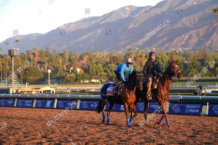 Santa Anita. FANNY LOGAN and Frankie Dettori at morning trackwork ahead of the Breeders Cup for trainer John Gosden.