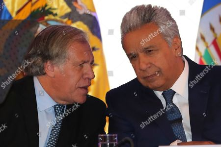 Luis Almagro, Lenin Moreno. Organization of American States Secretary General Luis Almagro, left, talks to Ecuador's President Lenin Moreno, at the opening of the Seventh Meeting of Ministers Responsible for Public Security in the Americas, in Quito, Ecuador, . Ministers meeting to discuss ways to collectively combat transnational crime and to share intelligence