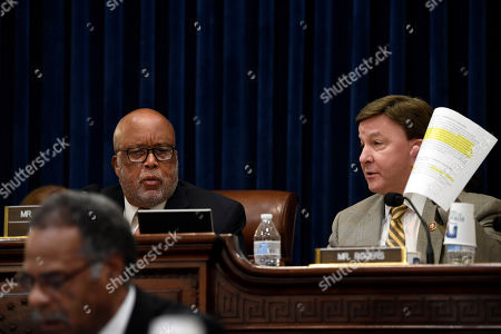 Bennie Thompson, Mike Rogers. House Homeland Security Committee ranking member Rep. Mike Rogers, R-Ala., right, disagrees with committee Chairman Rep. Bennie Thompson, D-Miss., left, over a committee issue before the start of a hearing on Capitol Hill in Washington, on domestic terrorism