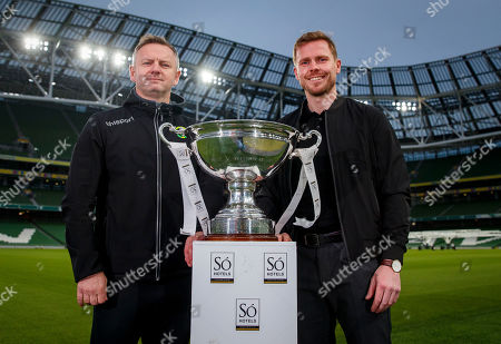 Peamount manager James O'Callaghan and Wexford Youths manager Tom Elmes