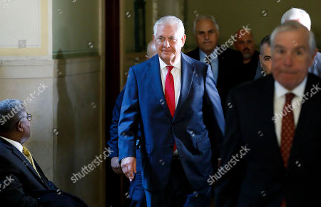 Rex Tillerson, the former US Secretary of State and former Exxon Mobil Chief Executive Officer, departs a courtroom in New York State Supreme Court after testifying in New York, New York, USA, 30 October 2019. Tillerson testified in a case filed by the New York Attorney General's office which alleges that Exxon Mobil defrauded investors and shareholders, as well as the public, about the risks and potential costs of climate change.