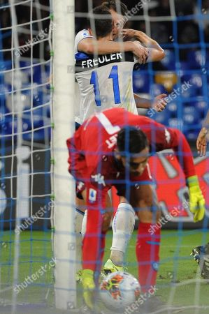 Atalanta's midfielder Remo Freuler (C) celebrates after scoring during the Italian Serie A soccer match between SSC Napoli and  Atalanta BC at the San Paolo stadium in Naples, Italy, 30 October 2019.