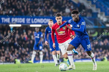 Callum Hudson-Odoi (Chelsea) with Andreas Pereira (Man United) in pursuit during the EFL Cup match between Chelsea and Manchester United at Stamford Bridge, London