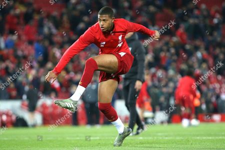 Liverpool forward Rhian Brewster (24) warming up during the EFL Cup match between Liverpool and Arsenal at Anfield, Liverpool