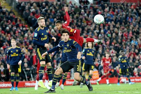 Liverpool forward Rhian Brewster (24) and Arsenal defender Hector Bellerin (2) during the EFL Cup match between Liverpool and Arsenal at Anfield, Liverpool