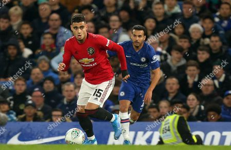 Andreas Pereira of Manchester United and Pedro of Chelsea during Chelsea vs Manchester United, Caraboa Cup Football at Stamford Bridge on 30th October 2019