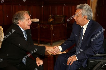 Ecuadorian President Lenin Moreno (R) greets the OAS General Secretary Luis Almagro (L) at the Ecuadorian Government Palace (Carondelet), after taking part in the opening of the VII Meeting of Ministers Responsible for Public Security of the Americas (MISPA) in Quito, Ecuador, 30 October 2019. Moreno and Almagro inaugurated the VII Meeting of Ministers Responsible for Public Security in the Americas (MISPA) with a call to promote greater regional cooperation against organized crime.