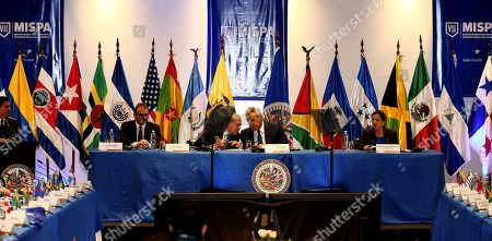 Ecuadorian President Lenin Moreno (C-R) and OAS General Secretary Luis Almagro (C-L) take part in the opening of the VII Meeting of Ministers Responsible for Public Security of the Americas (MISPA) in Quito, Ecuador, 30 October 2019. Moreno and Almagro inaugurated the VII Meeting of Ministers Responsible for Public Security in the Americas (MISPA) with a call to promote greater regional cooperation against organized crime.