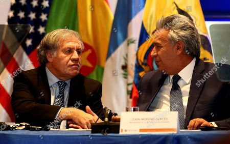 Ecuadorian President Lenin Moreno (R) shakes hands with OAS General Secretary Luis Almagro (L) during the opening of the VII Meeting of Ministers Responsible for Public Security of the Americas (MISPA) in Quito, Ecuador, 30 October 2019. Moreno and Almagro inaugurated the VII Meeting of Ministers Responsible for Public Security in the Americas (MISPA) with a call to promote greater regional cooperation against organized crime.